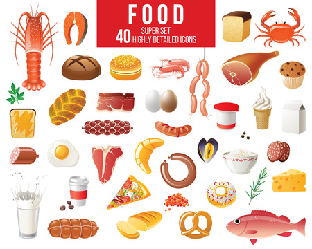 Highly detailed food icons set