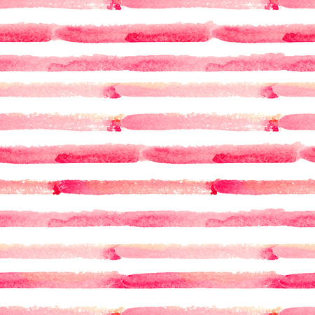 Hand drawn watercolor seamless pattern with pink stripes