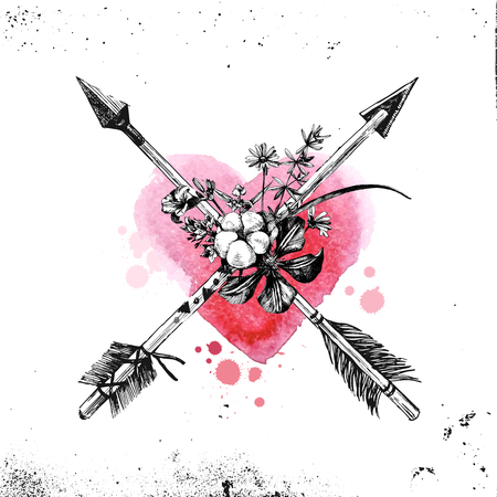 Valentines day card with hand drawn arrows, flowers and leaves Illustration