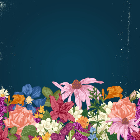 Hand drawn colorful seamless floral border  イラスト・ベクター素材