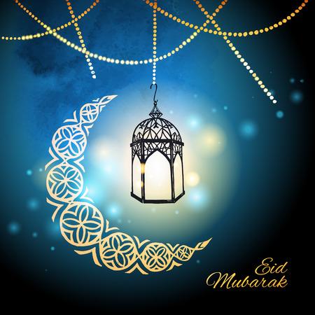 Eid 무바라크 인사말 카드 서식 일러스트