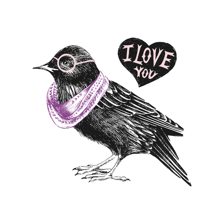 starling: Valentines day card with starling and heart