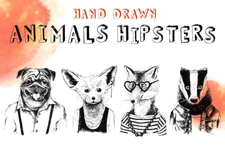 Hand drawn animals hipsters set Banco de Imagens