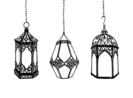 set of hand drawn arabic lanterns
