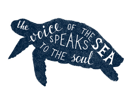 phrases: The voice of the sea speaks to the soul lettering Illustration
