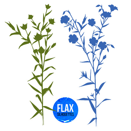 linum: Hand drawn silhouettes of flax plant Illustration