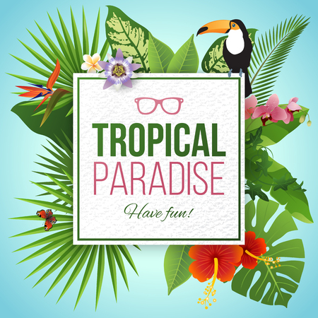 bloom bird of paradise: Tropical paradise label over background with leaves and flowers Illustration