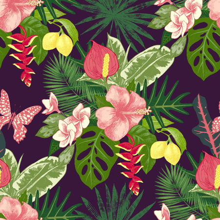tropical plants: Seamless pattern with tropical plants