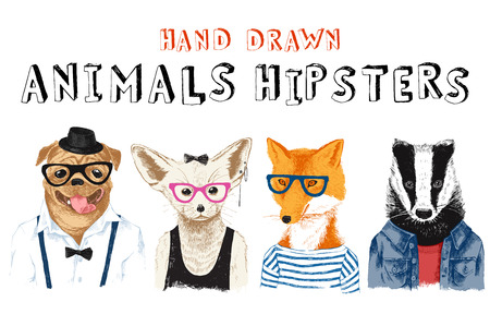 Hand drawn animals hipsters set Stock Illustratie
