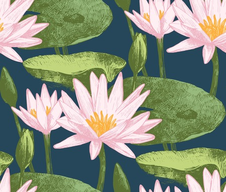 garden pond: Seamless pattern with water lily flowers
