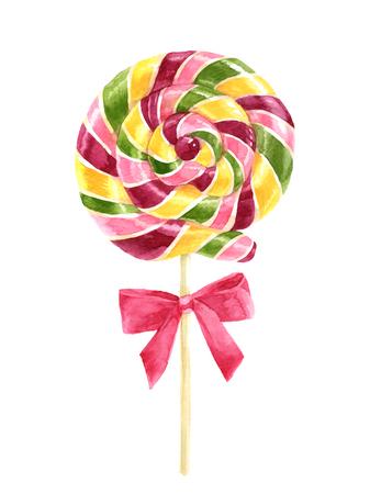 Bright watercolor lollipop