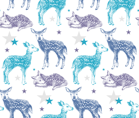 Seamless pattern with hand drawn baby deers Çizim