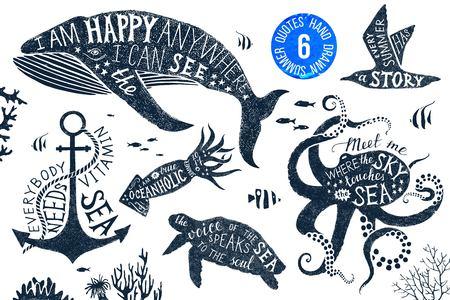 animal print: dibujado a mano conjunto de letras de verano en siluetas