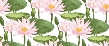lily flowers: A Seamless pattern with water lily flowers