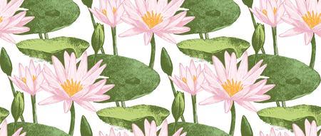 Een naadloos patroon met waterleliebloemen Stock Illustratie