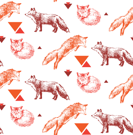 seamless pattern with hand drawn foxes 向量圖像
