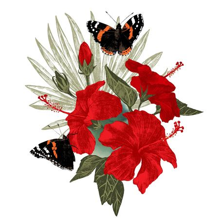 Hibiscus flowers with butterflies and palm leaf Vector Illustration