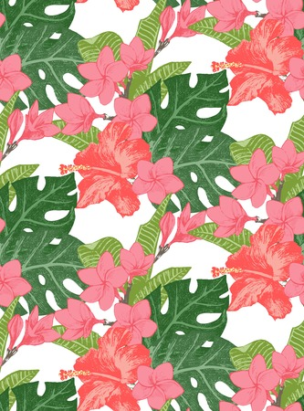 foliages: Seamless pattern with exotic flowers and leaves Illustration