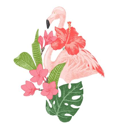 tropical flowers: Hand drawn flamingo with tropical flowers