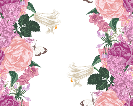 seamless background with spring flowers