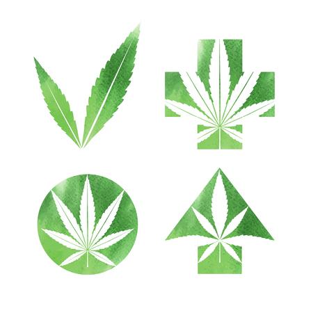 medical symbol: Marijuana watercolor signs