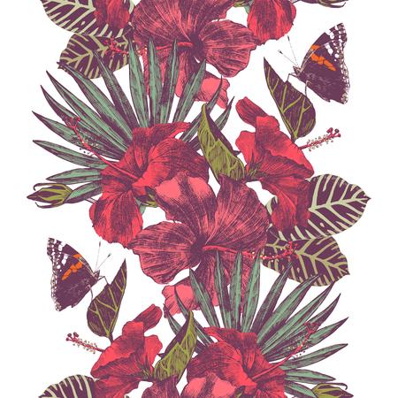Frontière tropicale sans soudure de vecteur avec des fleurs d'hibiscus, des feuilles et des papillons Banque d'images - 76967673