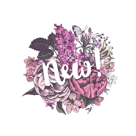 Round floral design with text new