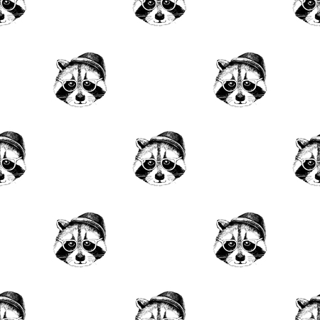 Seamless pattern with raccoons hipsters