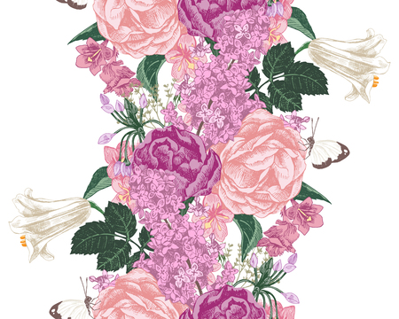 Seamless border with spring flowers Illustration