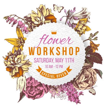 Flower workshop paper label on floral background
