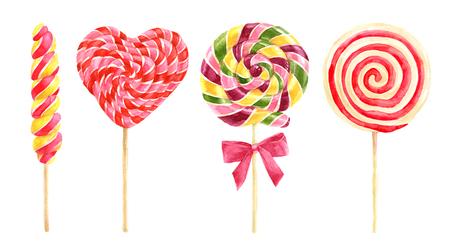 Bright watercolor lollipops