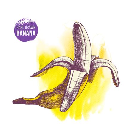 Hand getrokken banaan op aquarel gele achtergrond