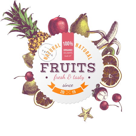 Pineapple and juicy fruits, vector illustration Illustration