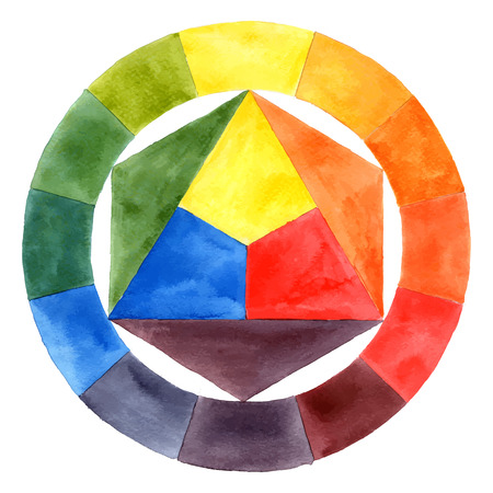 Hand drawn watercolor color wheel
