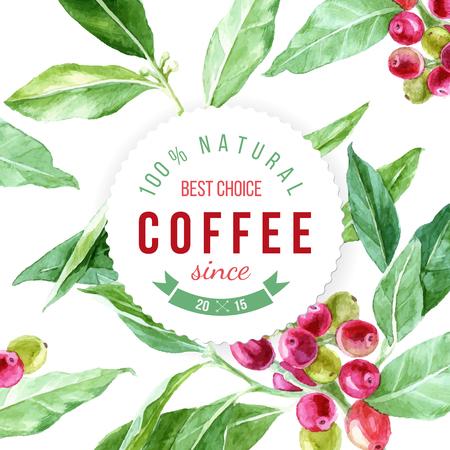 label op achtergrond met waterverf koffie plant Stock Illustratie