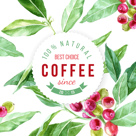 label on background with watercolor coffee plant Illustration