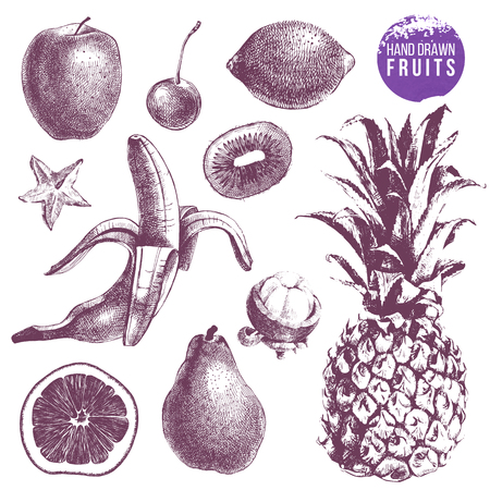 Set of hand drawn juicy fruits.