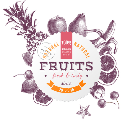 Round emblem with hand drawn fruits
