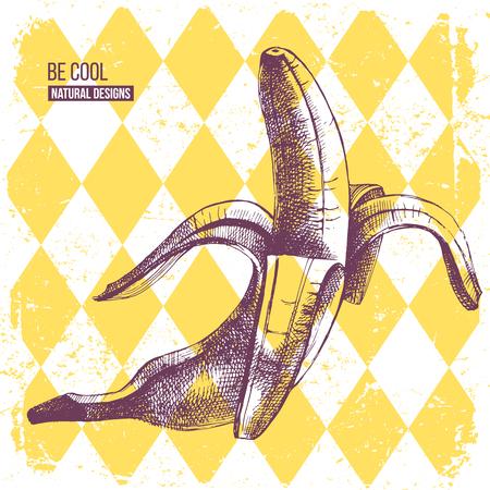Hand getrokken banaan op gele ruit achtergrond Stock Illustratie