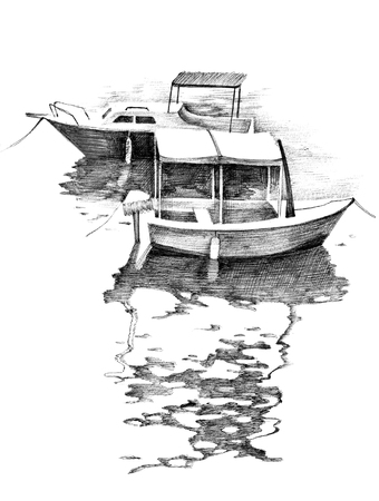 hand drawn black and white small boats Stock Photo
