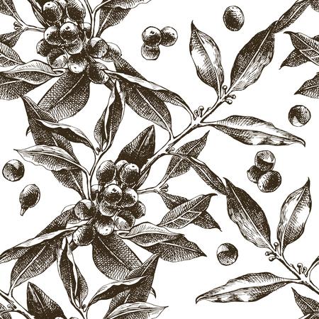 コーヒーの木の枝をシームレスなパターン