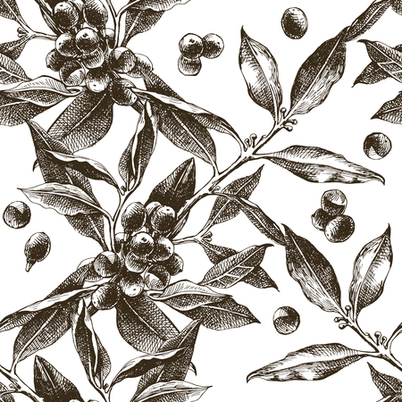 Seamless pattern with coffee tree branches Illustration
