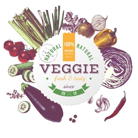 Veggie round embleem met hand getrokken groenten