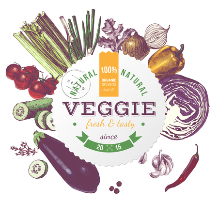 Veggie round emblem with hand drawn vegetables Çizim