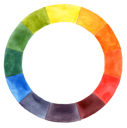 Hand drawn watercolor color wheel Stock Photo