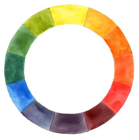 Mano dibujada acuarela rueda de color Foto de archivo - 81593323