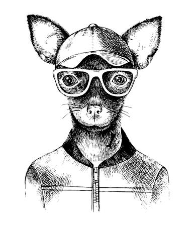 Hand drawn toy terrier hipster Vektoros illusztráció