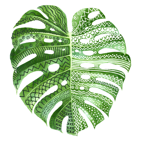 Monstera plant leaf with ethnic ornaments