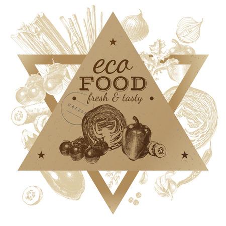 クラフト ペーパー ワッペン付き手描きエコ食品背景。ベクトル図