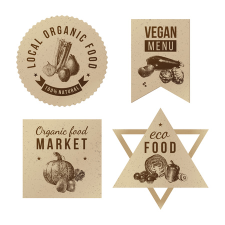 Labels with organic food designs on craft paper. Great ideas for local farmers products package, eco food cafe or local market advertising